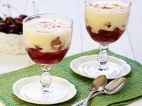 Cherry Compote with Amaretto Cookies and Sabayon recipe