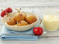 Cherry Fritters with Vanilla Custard