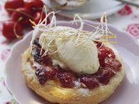 Cherry Tarts with Vanilla Ice Cream and Caramel Fantasies recipe