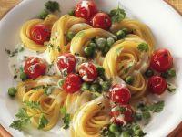 Cherry Tomato and Pea Spaghetti in Cream Cheese Sauce recipe