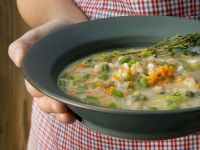 Chestnut Soup with Beans and Rice recipe