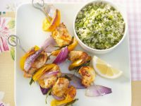 Chicken and Bell Pepper Skewers with Couscous recipe