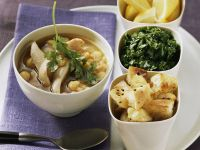 Chicken and Chickpea Soup with Flat Bread, Herbs and Lemon recipe