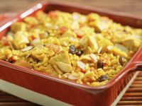 Chicken and Rice Casserole with Tomatoes, Almonds and Raisins recipe