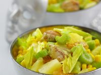 Chicken and Vegetable Salad with Grapes, Pineapple and Yellow Mayonnaise recipe