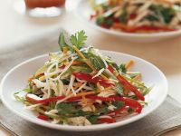 Chicken and Vegetable Salad with Rice Noodles recipe