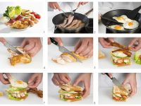 Chicken, Bacon and Egg Club Sandwiches recipe