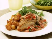 Chicken Breast with Pepper-Nut Sauce and Baked Potatoes recipe