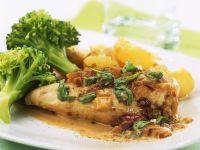 Chicken Breast with Tarragon Cream Sauce, Broccoli, and Potatoes recipe