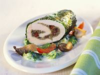 Chicken Breasts with Chestnut Stuffing, Cabbage and Mushrooms recipe