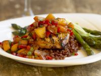 Chicken Breasts with Peach Salsa, Lentils and Asparagus recipe