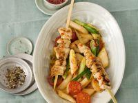 Chicken Brochettes with Veggie Salad recipe