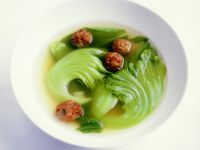 Chicken Broth with Bok Choy and Tofu Balls recipe