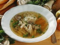 Chicken Broth with Vegetables and Pasta recipe