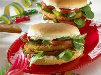 Chicken Burger with Arugula and Tomato recipe