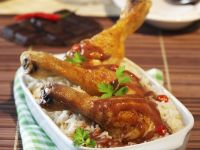 Chicken Drumsticks with Spicy Chocolate Sauce and Rice recipe
