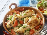 Chicken Legs with Rice and Veggies recipe