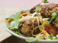 Chicken Meatballs with Sesame Seeds and Vegetables recipe