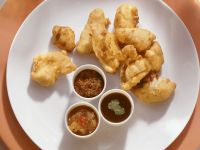 Chicken Pakora with Assorted Sauces recipe