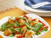Chicken, Pepper, and Pea Stir-fry recipe