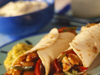 Chicken Pepper Burritos with Fresh Guacamole recipe