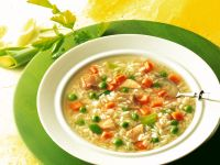 Chicken Rice Soup with Summer Vegetables recipe