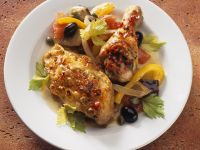 Aubergine and Pepper Saute with Chicken recipe