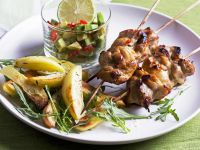 Chicken Skewers with Avocado and Pepper Salsa recipe
