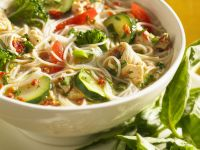 Chicken Soup with Vegetables, Noodles and Pesto recipe