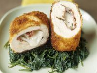 Chicken Stuffed with Bresaola and Mozzarella over Spinach recipe
