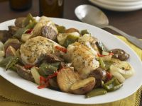 Chicken Thighs, New Potatoes, Onions and Peppers recipe