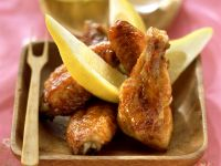 Chicken Wings with Peanut and Lemon Wedges recipe