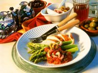 Chicken with Asparagus and Red Pepper Sauce recipe