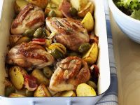 Chicken with Potatoes, Garlic and Olives recipe