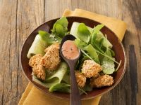 Chicken with Sesame Seed Crust and Arugula Salad recipe