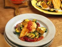 Chicken with Tomato Sauce and Grilled Vegetables recipe