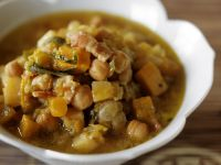 Chickpea Stew with Pumpkin, Kohlrabi and Bacon recipe