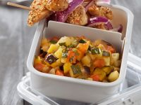 Chilled Country Veg with Chicken Skewers recipe