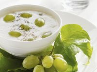 Chilled Pear and Almond Soup with Grapes recipe