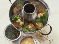 Chinese Hot Pot with Beef, Vegetables and Two Dips recipe