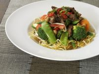 Chinese-Style Egg Noodle Stir-Fry with Beef and Vegetables recipe