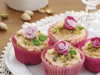 Choco-nut Cakes with Flower Topping recipe