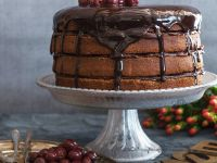 Chocolate Almond Cake with Cherries recipe