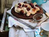 Chocolate Cake with Cream and Cherries recipe