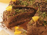 Chocolate Cake with Pistachios and Orange Pieces recipe