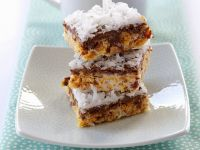 Chocolate Covered Almond, Coconut and Caramel Bars recipe