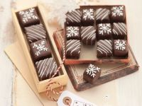 Chocolate Gingerbread Cake Petit Fours with Marzipan and Red Currant Jelly recipe