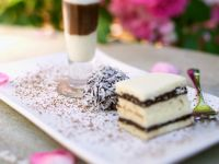 Chocolate Milkshake with Chocolate Coconut Cake and a Chocolate Coconut Truffle recipe