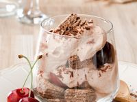 Chocolate Mousse with Waffles and Cherries recipe