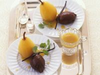 Chocolate Mousse with White Wine Poached Pears